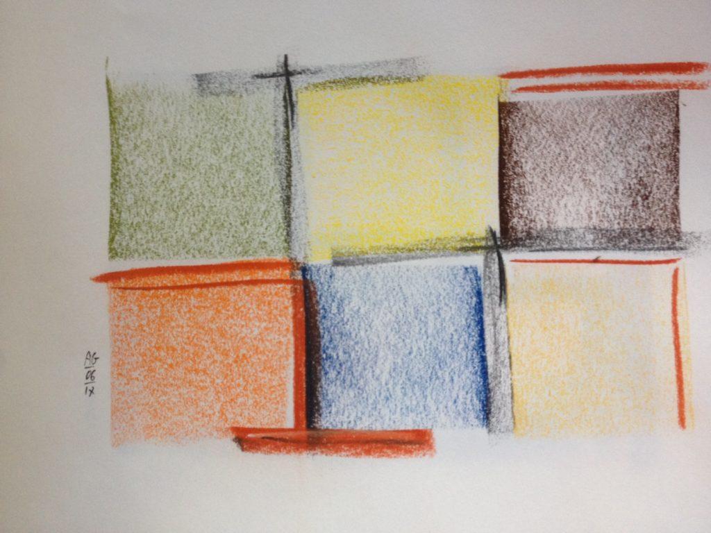 Arlequin six carrés, dessin pastels secs
