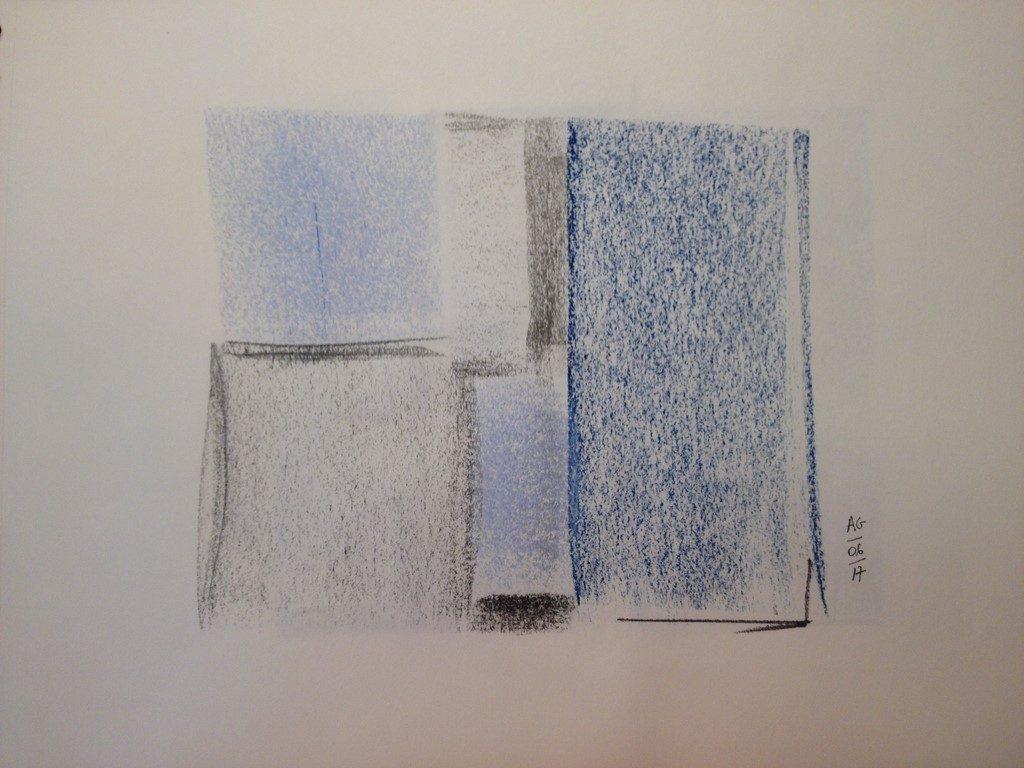 Bleuets et ombres grises, pastels secs