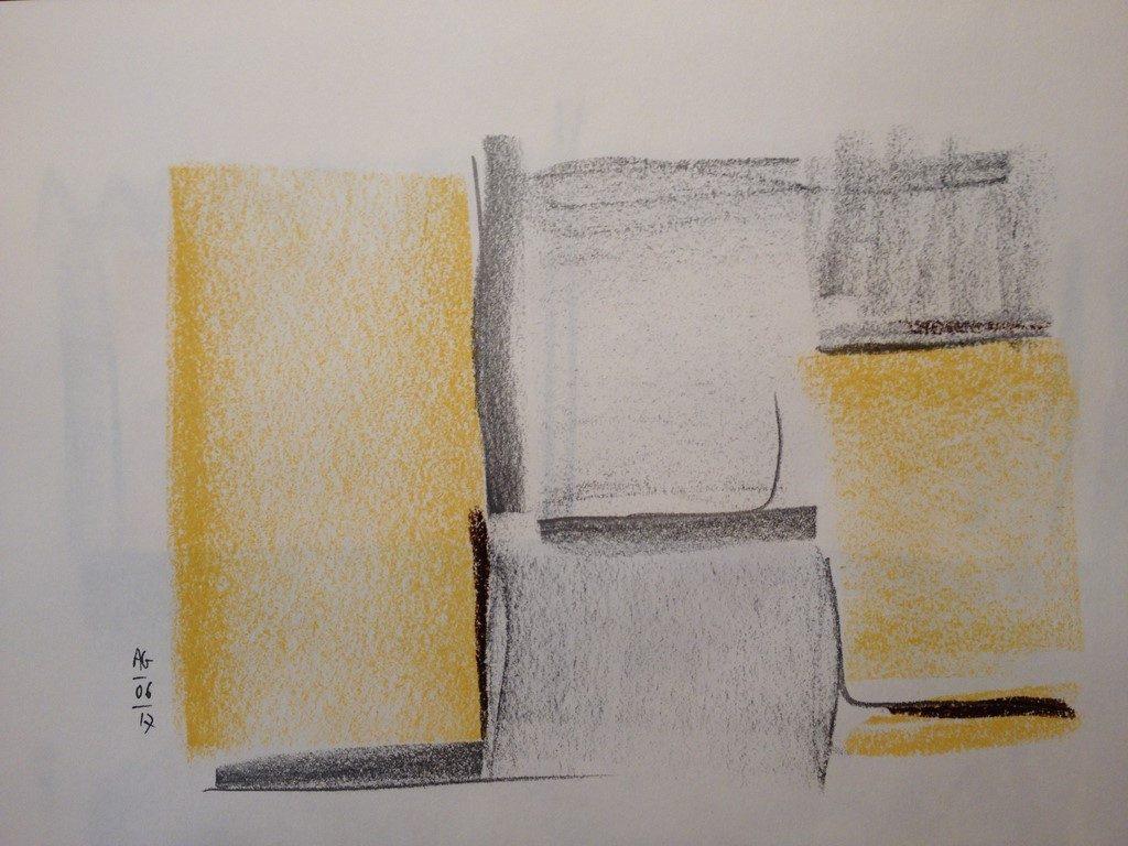Fenêtre au lever du jour - dessins aux pastels secs