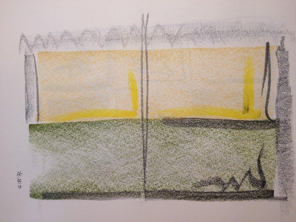 Fenêtre ombre et soleil - dessin aux pastels secs