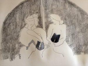 Femmes lisant, dessin crayon et pastels secs