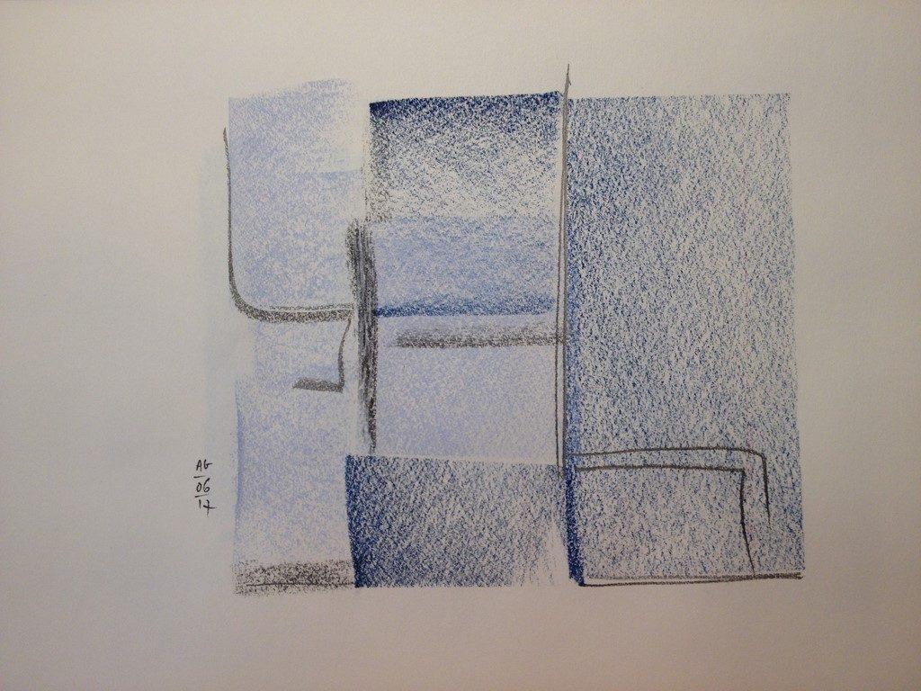 Champ de bleuets vu d'avion, dessin pastels secs