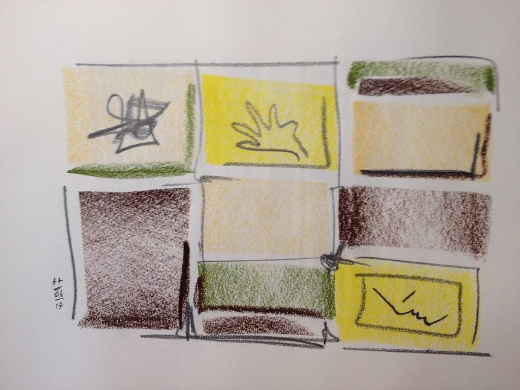 Fenêtre au soleil, dessin aux pastels secs