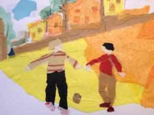 Les deux frères jouent dans la rue : crayon, aquarelle et papier déchiré